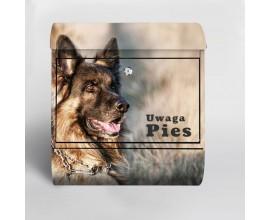 Skrzynka pocztowa na listy z napisem uwaga pies - duża