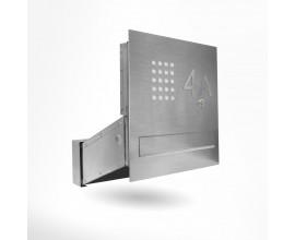 Przelotowa, nowoczesna skrzynka na listy do montażu w słupku ogrodzenia lub w murze.
